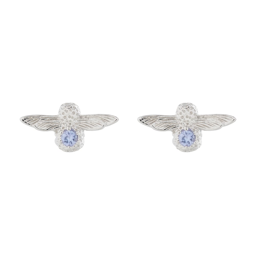 OLIVIA BURTON-Bejewelled Bee Stud Earring Silver & Tanzanite-Jewellery-OBJ16AME28-THE UNIT STORE