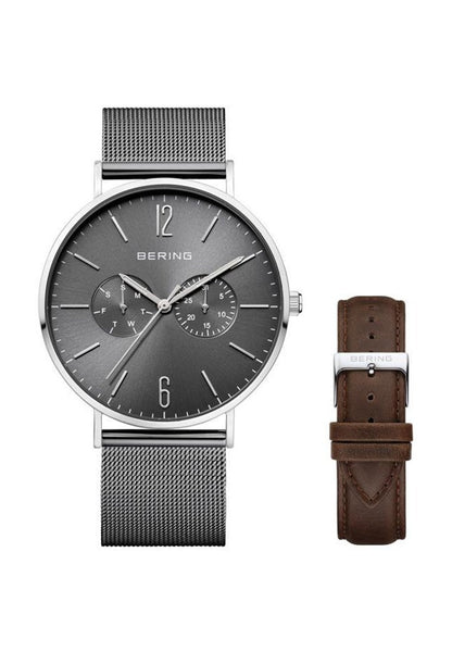 Bering-Classic Grey Dial Mesh + Extra Brown Leather Strap-Watch-14240-309-THE UNIT STORE