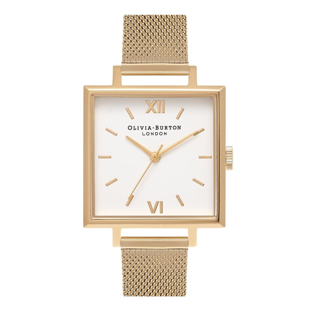 OLIVIA BURTON-Big Dial Square Dials Gold Mesh-Watch-OB16SS11-THE UNIT STORE