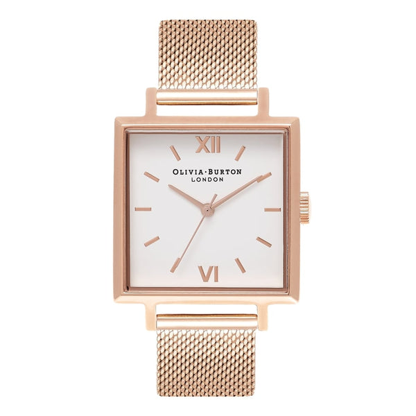 OLIVIA BURTON-Big Dial Square Dials Rose Gold Mesh-Watch-OB16SS10-THE UNIT STORE