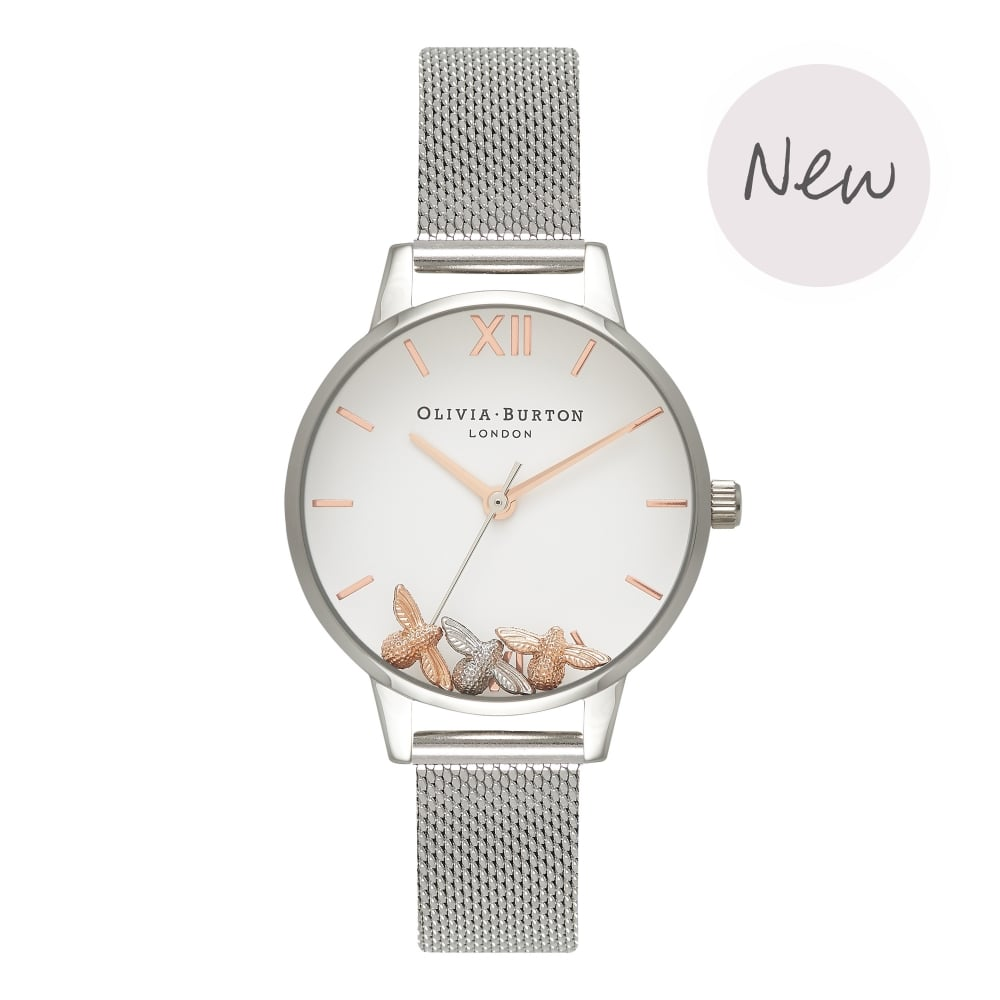 OLIVIA BURTON-Busy Bees Silver Mesh-Watch-OB16CH02-THE UNIT STORE