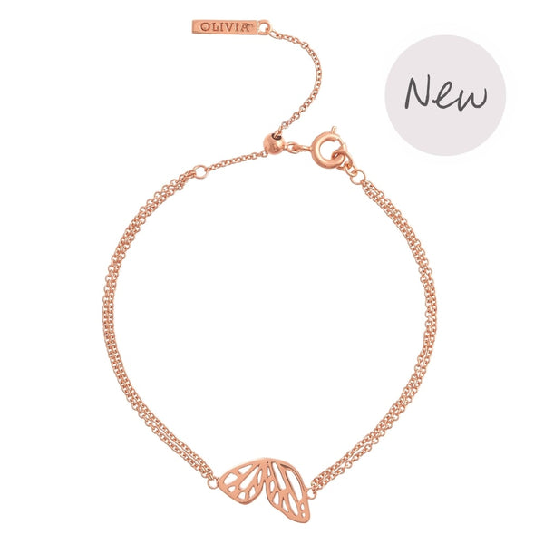 OLIVIA BURTON-Butterfly Wing Chain Bracelet Rose Gold-Jewellery-OBJ16EBB02-THE UNIT STORE