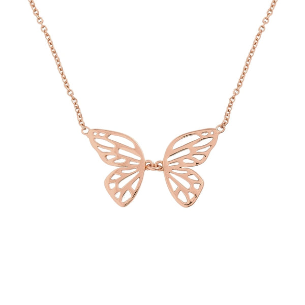 Butterfly Wing Necklace Rose Gold