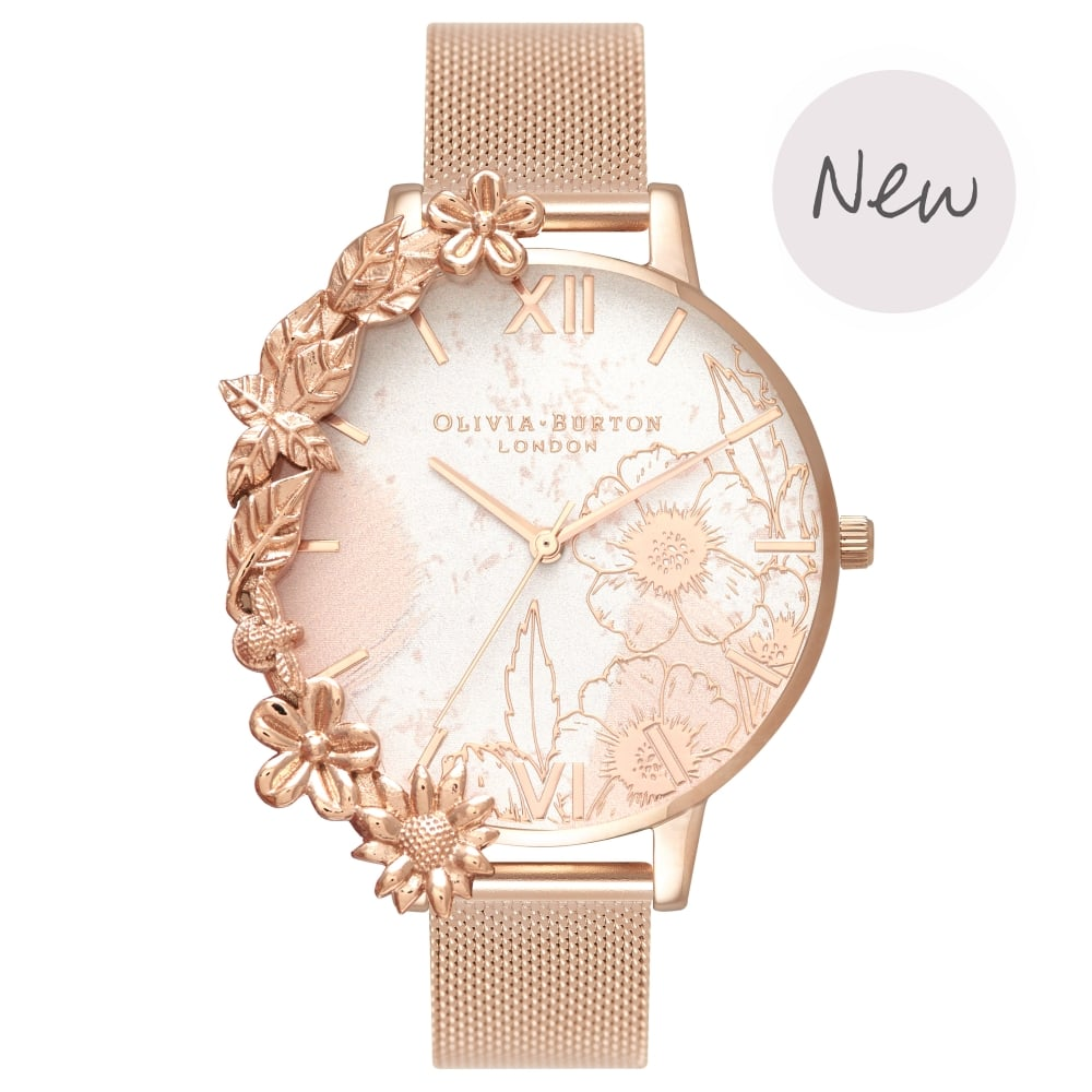OLIVIA BURTON-Case Cuffs Rose Gold Mesh-Watch-OB16CB13-THE UNIT STORE