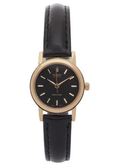 Enticer Ladies' / Black Dial Gold / Black Leather