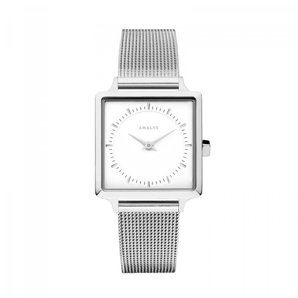 Amalys-Claire White/Silver/Silver Mesh/25mm-Watch-AMW-007-THE UNIT STORE