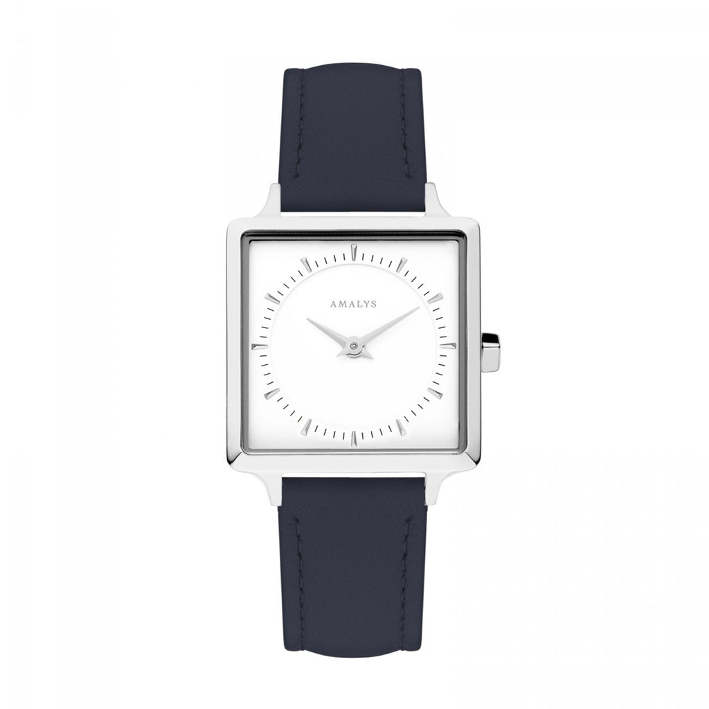Amalys-Constance White/Silver/Night Blue Leather/25mm-Watch-AMW-008-THE UNIT STORE