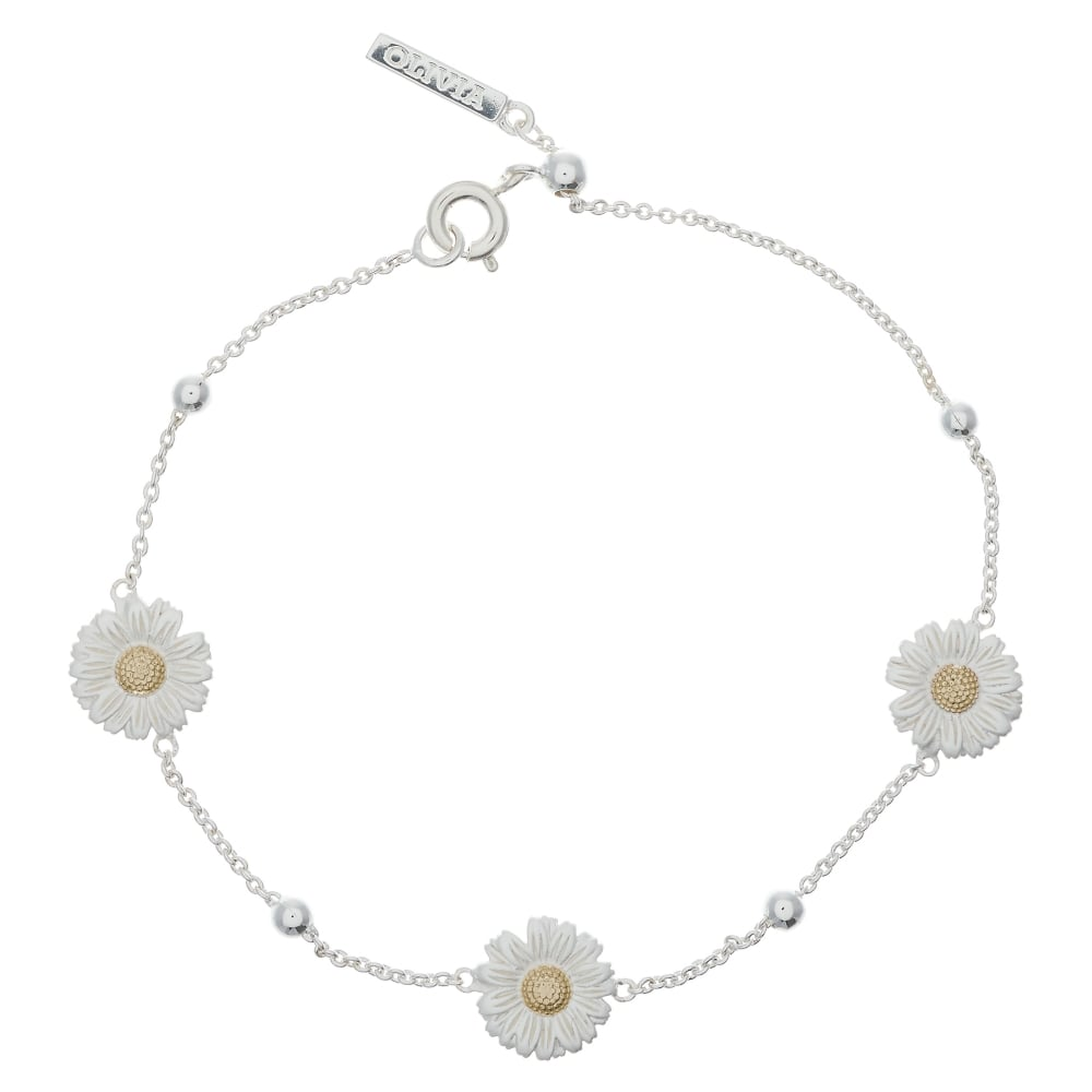 OLIVIA BURTON-3D Daisy & Ball Chain Bracelet Silver & Gold-Jewellery-OBJ16DAB01-THE UNIT STORE