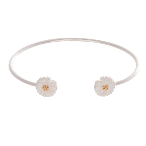 OLIVIA BURTON-3D Daisy Open Ended Bangle Silver & Gold-Jewellery-OBJ16DAB09-THE UNIT STORE