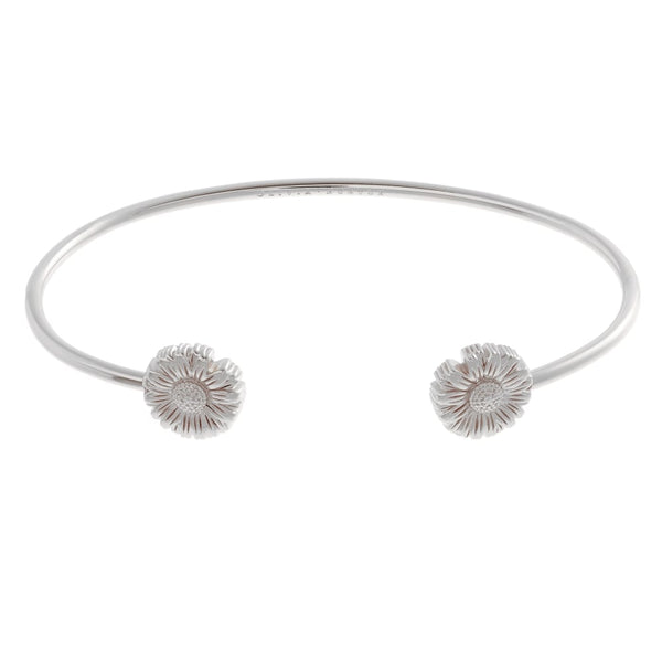 OLIVIA BURTON-3D Daisy Open Ended Bangle Silver-Jewellery-OBJ16DAB05-THE UNIT STORE