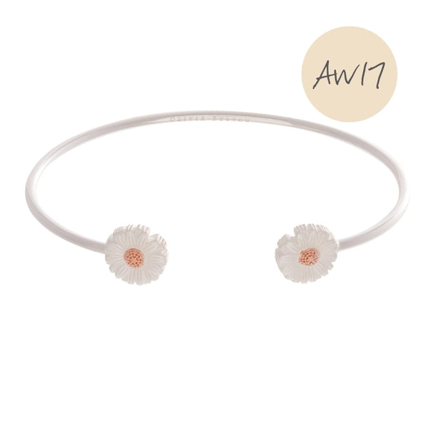 OLIVIA BURTON-3D Daisy Open Ended Bangle Silver & Rose Gold-Jewellery-OBJ16DAB10-THE UNIT STORE