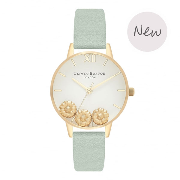 OLIVIA BURTON-Dancing Daisy Sage & Gold-Watch-OB16CH17-THE UNIT STORE