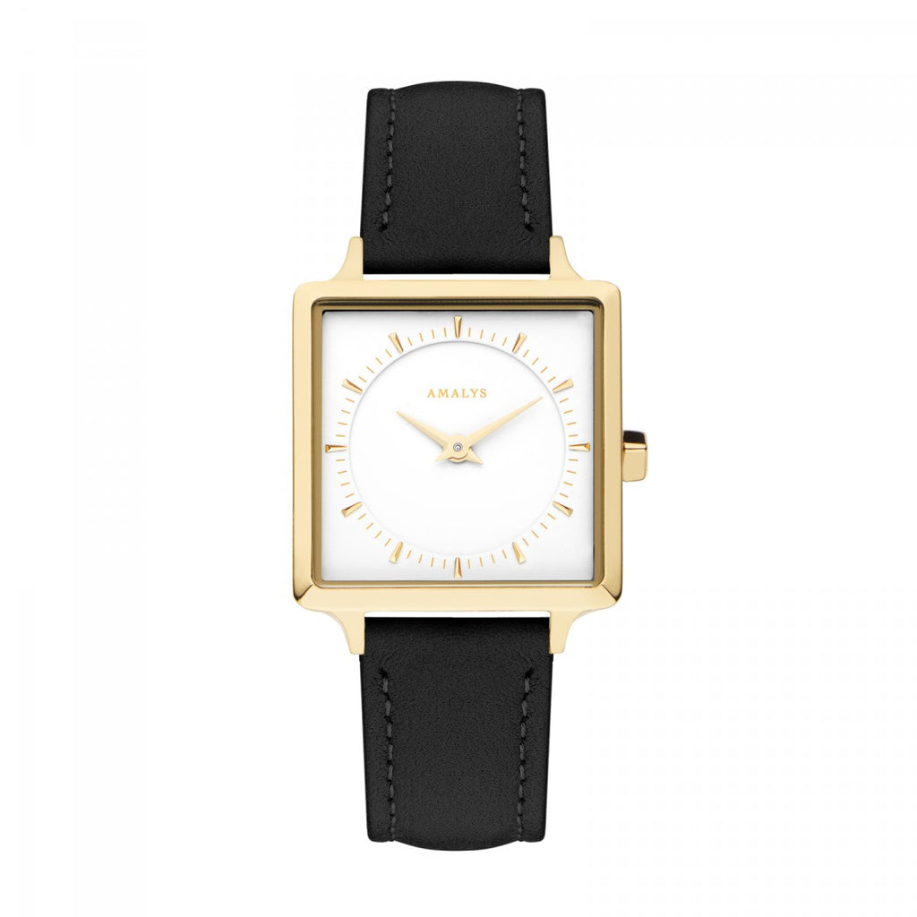 Amalys-Diane White/Gold/Black Suede Leather/25mm-Watch-AMW-013-THE UNIT STORE