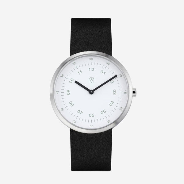 Maven-Drizzle White/Silver/Black Leather/40mm-Watch-WU MV1001MPIWBK-THE UNIT STORE