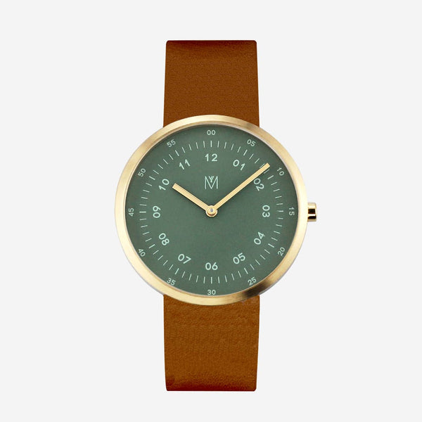 Maven Dusty Olive Green/Gold/Brown Leather/40mm WU MV1001MGPGBN