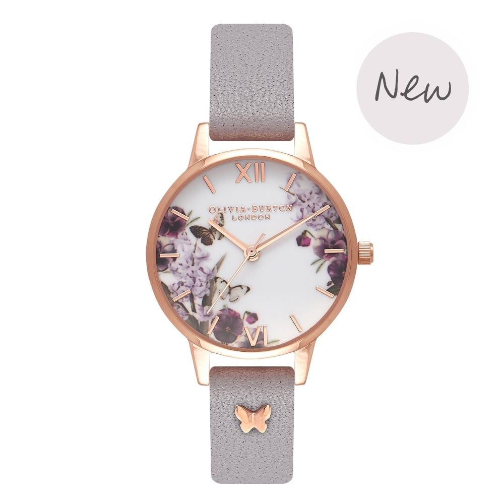 7cb818c62980 OLIVIA BURTON Enchanted Garden Grey Lilac   Rose Gold OB16ES05 - THE ...