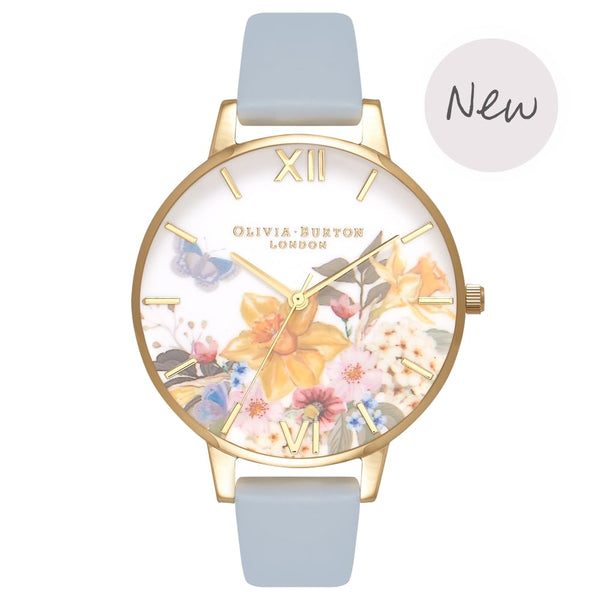 OLIVIA BURTON-Enchanted Garden Chalk Blue & Gold-Watch-OB16FS96-THE UNIT STORE