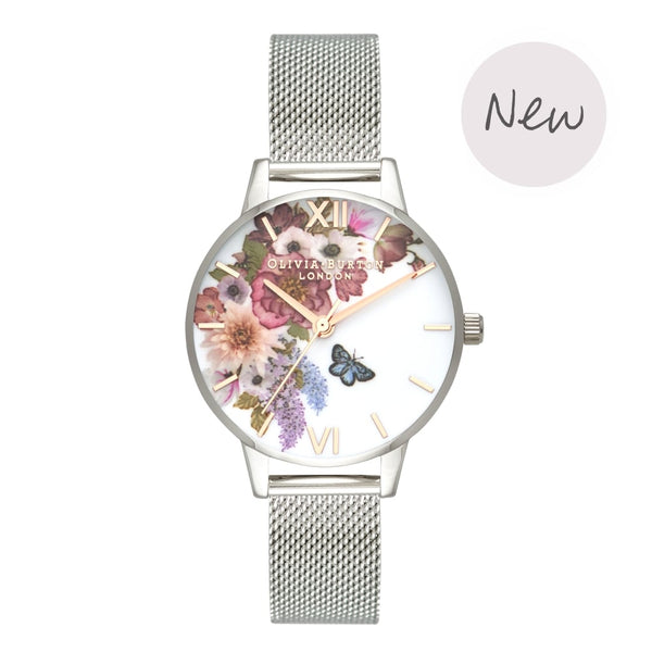 OLIVIA BURTON-Enchanted Garden Silver Mesh & Rose Gold-Watch-OB16EG103-THE UNIT STORE