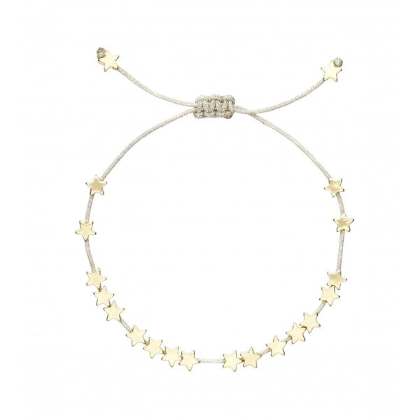 Gold Stars Bracelet with Silver metallic cord__Estella Bartlett_Jewellery_THE UNIT STORE