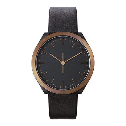 Normal Timepieces-Brown and Black Case / Black Leather Band-Watch-H22-L18BL-THE UNIT STORE