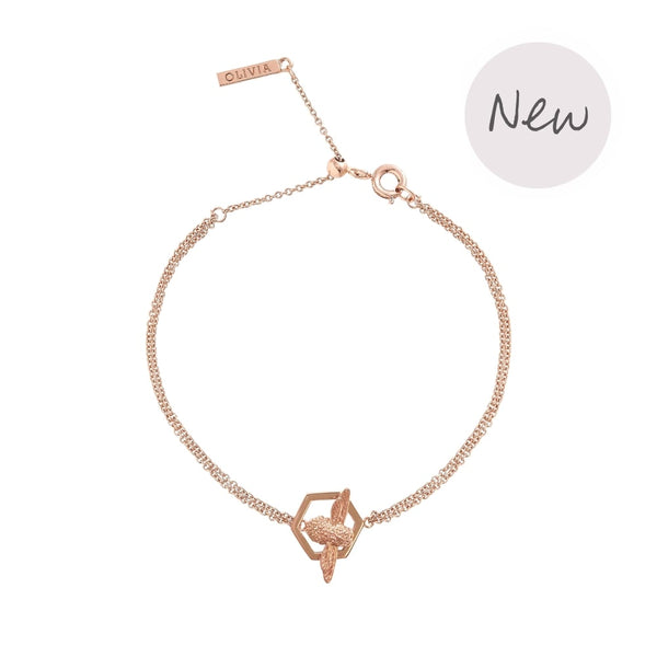 OLIVIA BURTON-Honeycomb Bee Chain Bracelet Rose Gold-Jewellery-OBJ16AMB31-THE UNIT STORE