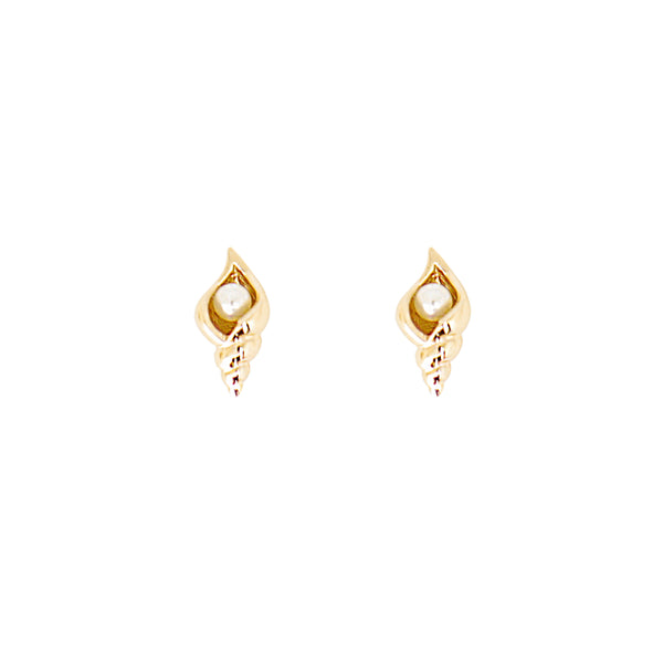 Cirque Poesie-Conch Pearl Earrings Gold-Jewellery-CP-ER-COP-G-00-THE UNIT STORE