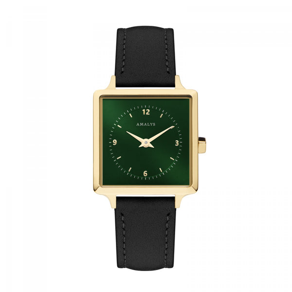 Amalys-Iris Sunray Green/Gold/Black Suede Leather/25mm-Watch-AMW-019-THE UNIT STORE
