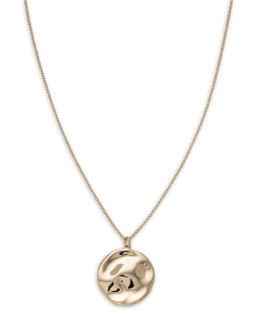 Iggy Textured Coin Necklace Gold