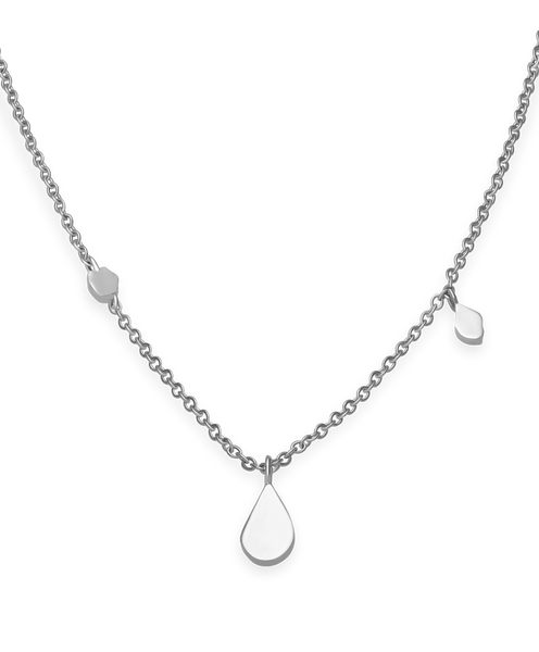 Iggy Shaped Drop Necklace Silver