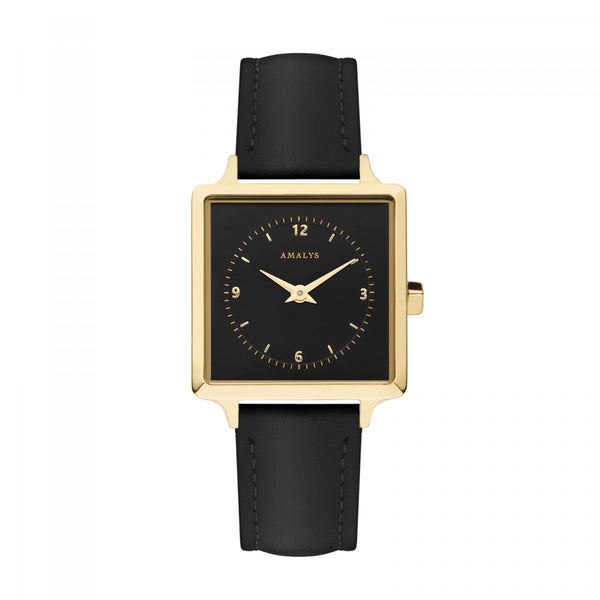 Amalys-Jude Black/Gold/Black Leather/25mm-Watch-AMW-018-THE UNIT STORE