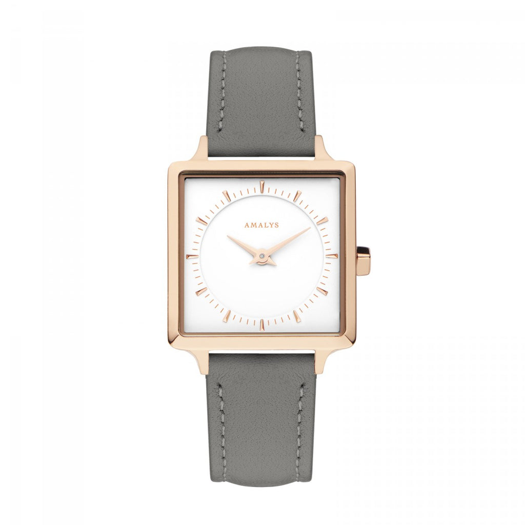 Amalys-Julia White/Rose Gold/Grey Leather/25mm-Watch-AMW-003-THE UNIT STORE