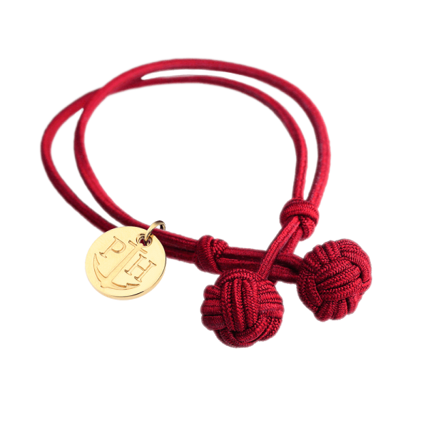 Knotbracelet IP Gold Nylon Red