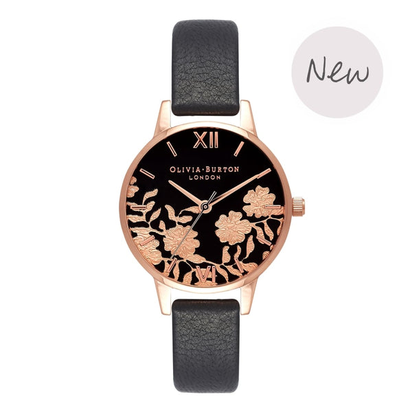 OLIVIA BURTON-Lace Detail Black & Rose Gold-Watch-OB16MV75-THE UNIT STORE