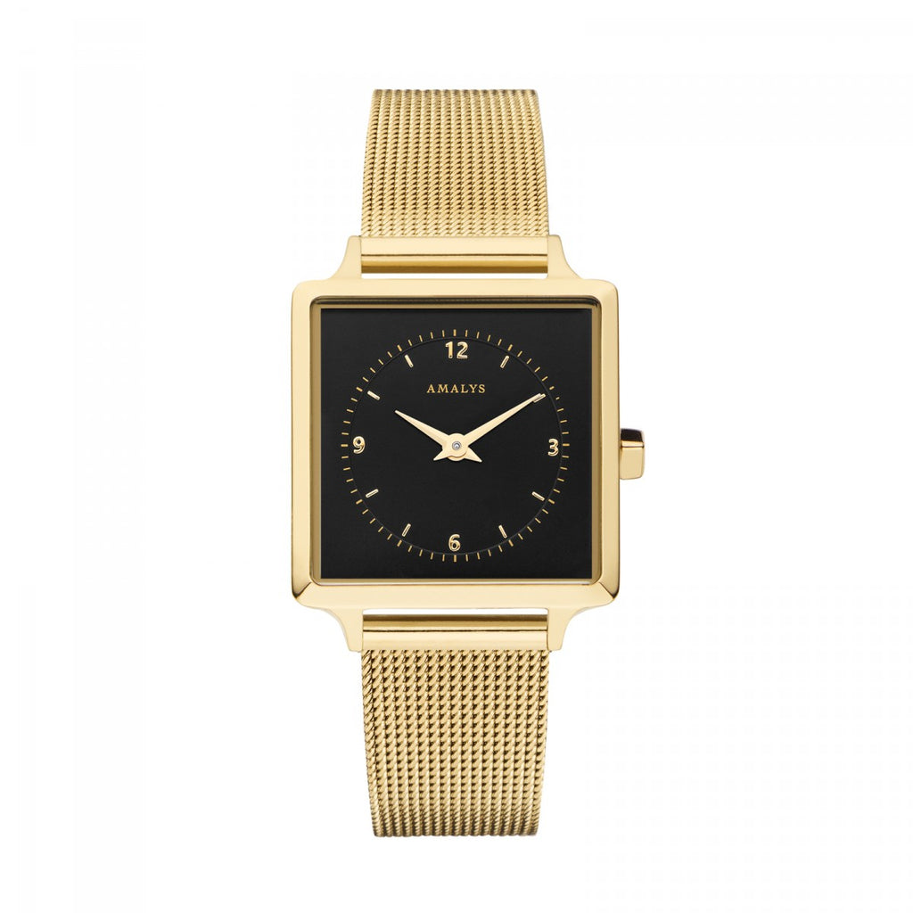 Amalys-Lise Black/Gold/Gold Mesh/25mm-Watch-AMW-017-THE UNIT STORE