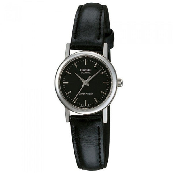 Enticer Ladies' / Black Dial Silver / Black Leather