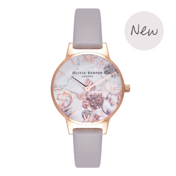 Marble Florals Grey Lilac & Rose Gold