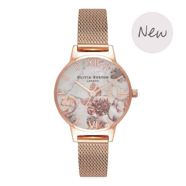 OLIVIA BURTON-Marble Florals Small Dial Rose Gold Mesh-Watch-OB16CS06-THE UNIT STORE