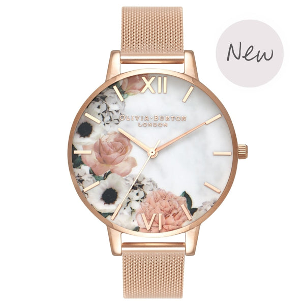 OLIVIA BURTON-Marble Florals Big Dial Rose Gold Mesh-Watch-OB16MF13-THE UNIT STORE