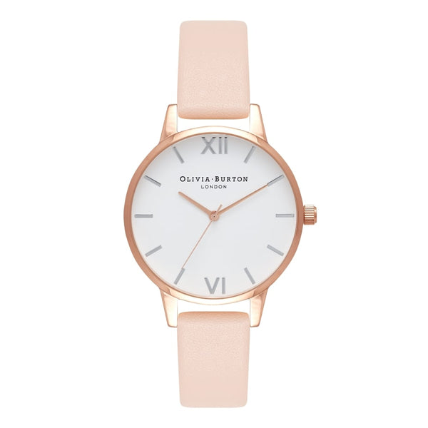 OLIVIA BURTON-White Dial Midi Dial Nude Peach RG & Silver-Watch-OB16MDW21-THE UNIT STORE
