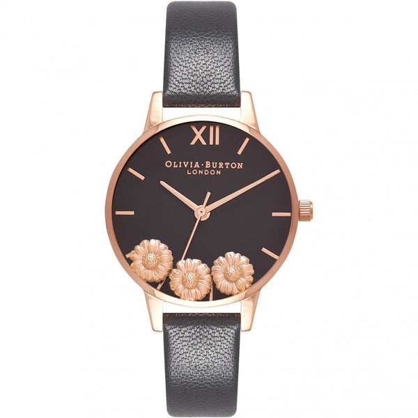 OLIVIA BURTON-Dancing Daisy Black & Rose Gold-Watch-OB16CH05-THE UNIT STORE