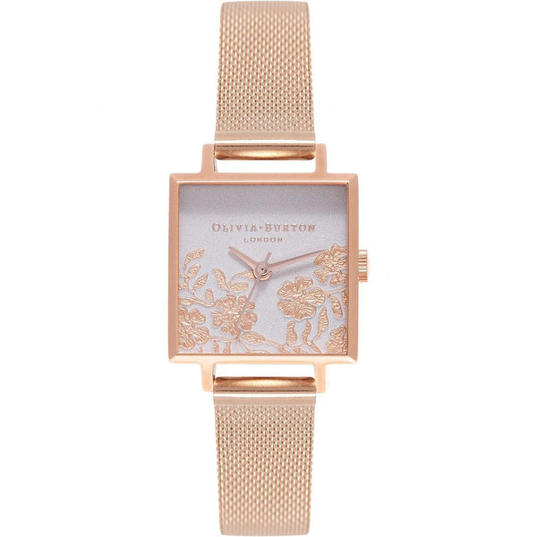 OLIVIA BURTON Lace Detail Square Dial Rose Gold Mesh OB16MV78