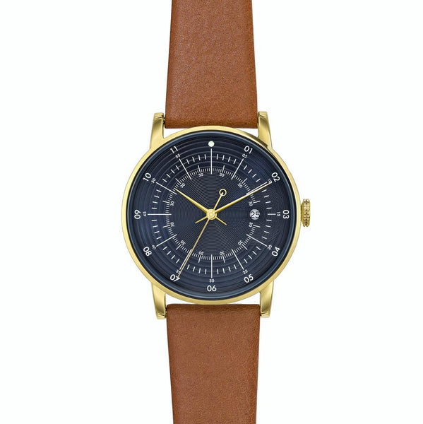 Squarestreet-Gold Navy Dial Swedish Brown Reindeer Strap-Watch-SQ38 PS-90-THE UNIT STORE