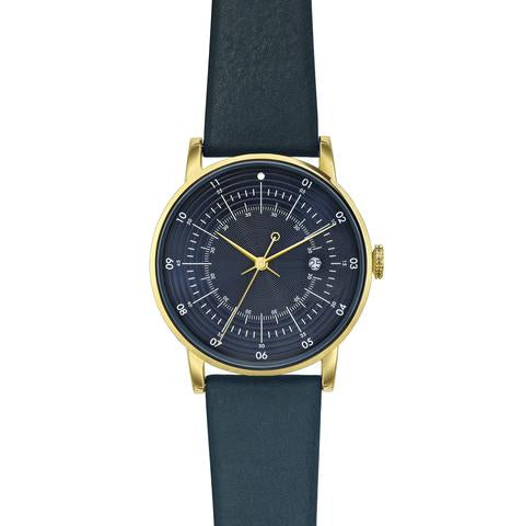 Polished Gold Stainless Steel w/ Black Dial and Navy Cow Leather Strap