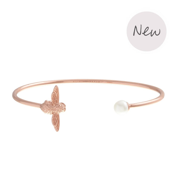 OLIVIA BURTON-Pearl Bee Bangle Rose Gold-Jewellery-OBJ16AMB37-THE UNIT STORE