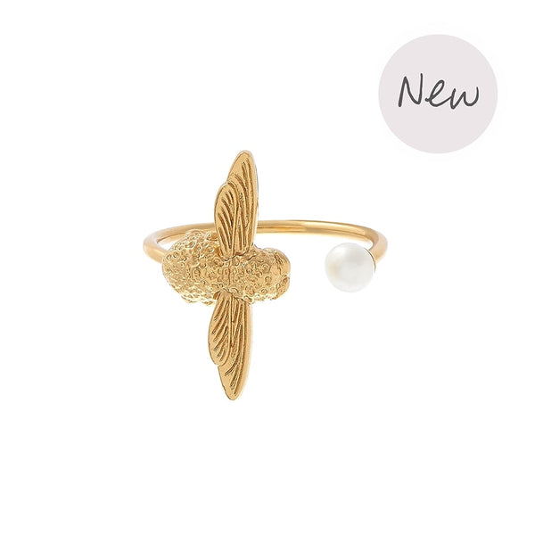 OLIVIA BURTON-Pearl Bee Ring Gold-Jewellery-OBJ16AMR08-THE UNIT STORE
