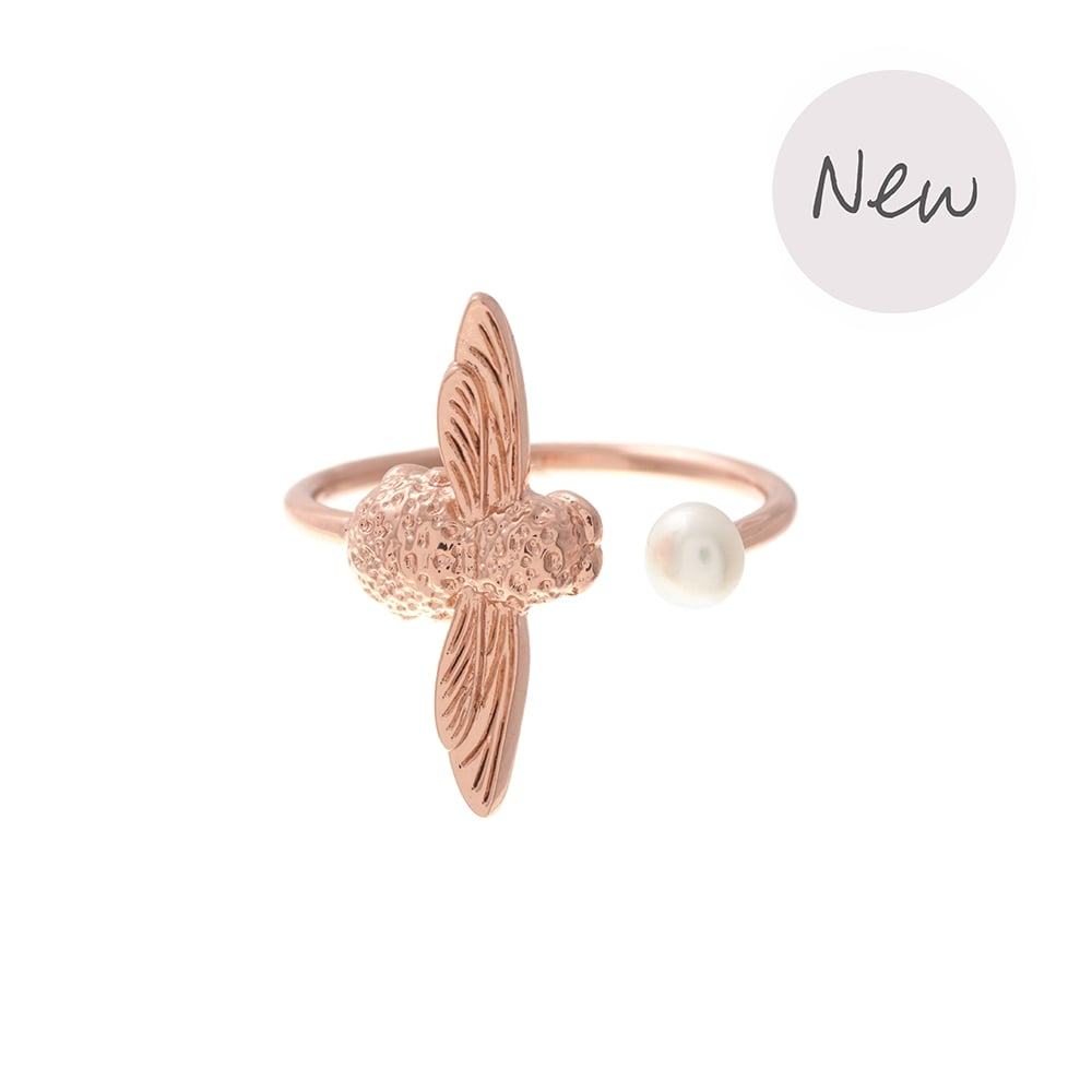 OLIVIA BURTON-Pearl Bee Ring Rose Gold-Jewellery-OBJ16AMR09-THE UNIT STORE