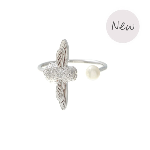 OLIVIA BURTON-Pearl Bee Ring Silver-Jewellery-OBJ16AMR10-THE UNIT STORE