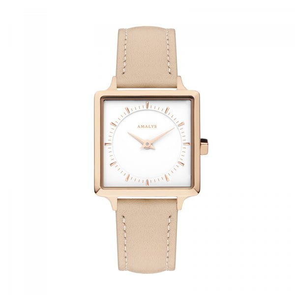 Amalys-Pili White/Rose Gold/Pale Pink Leather/25mm-Watch-AMW-002-THE UNIT STORE