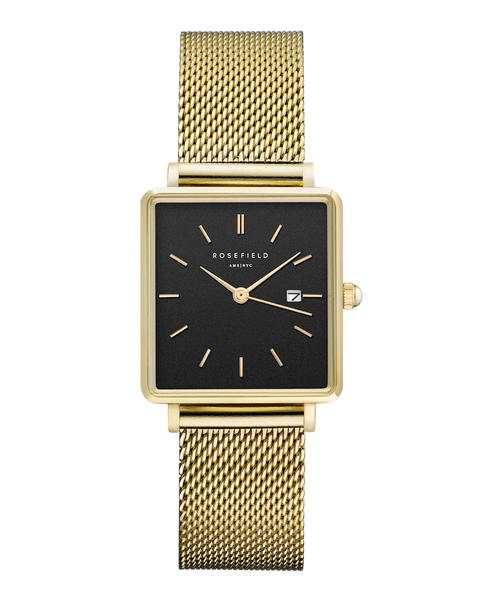 Rosefield-The Boxy Black Mesh Gold-Watch-RF-QBMG-Q06-THE UNIT STORE