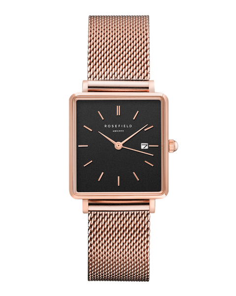 Rosefield-The Boxy Black Mesh Rosegold-Watch-RF-QBMR-Q05-THE UNIT STORE